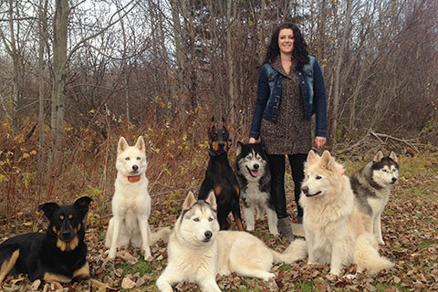 Mel and her pack of seven dog posing for a picture on a fall day
